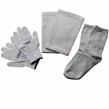3 Sets=9 Pairs Electrical Stimulator Conductive Fiber TENS/EMS Massage Gloves Socks Electrotherapy/Facial Conductive Knee Pads