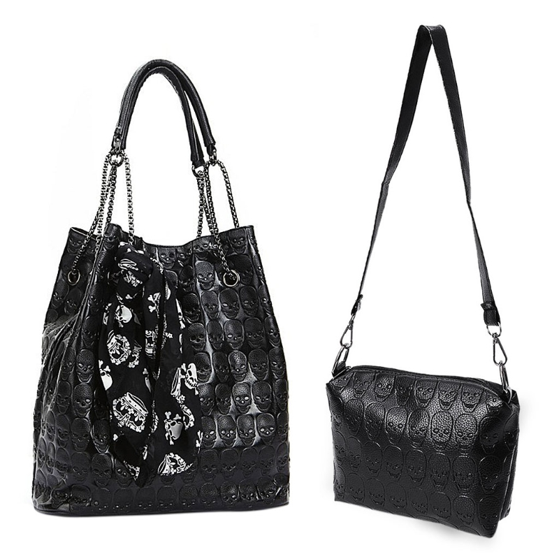 2Pcs PU Leather Skull Print Shoulder Bags Crossbody Bags For Women