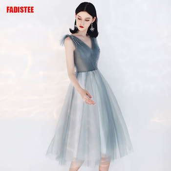 FADISTEE New arrival elegant party prom dress vestido de noiva lace evening dresses robe de soiree pleat gray slim V-neck