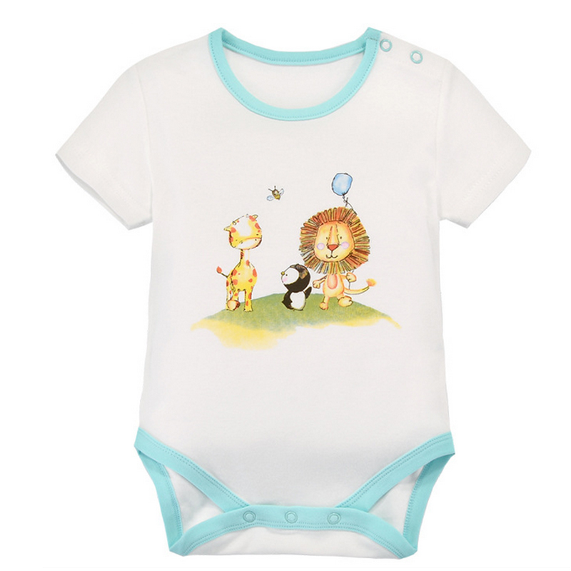 y416 free shipping Summer men and women baby cotton short-sleeved triangle clothes newborn penguin lion bee climbing Bodysuits