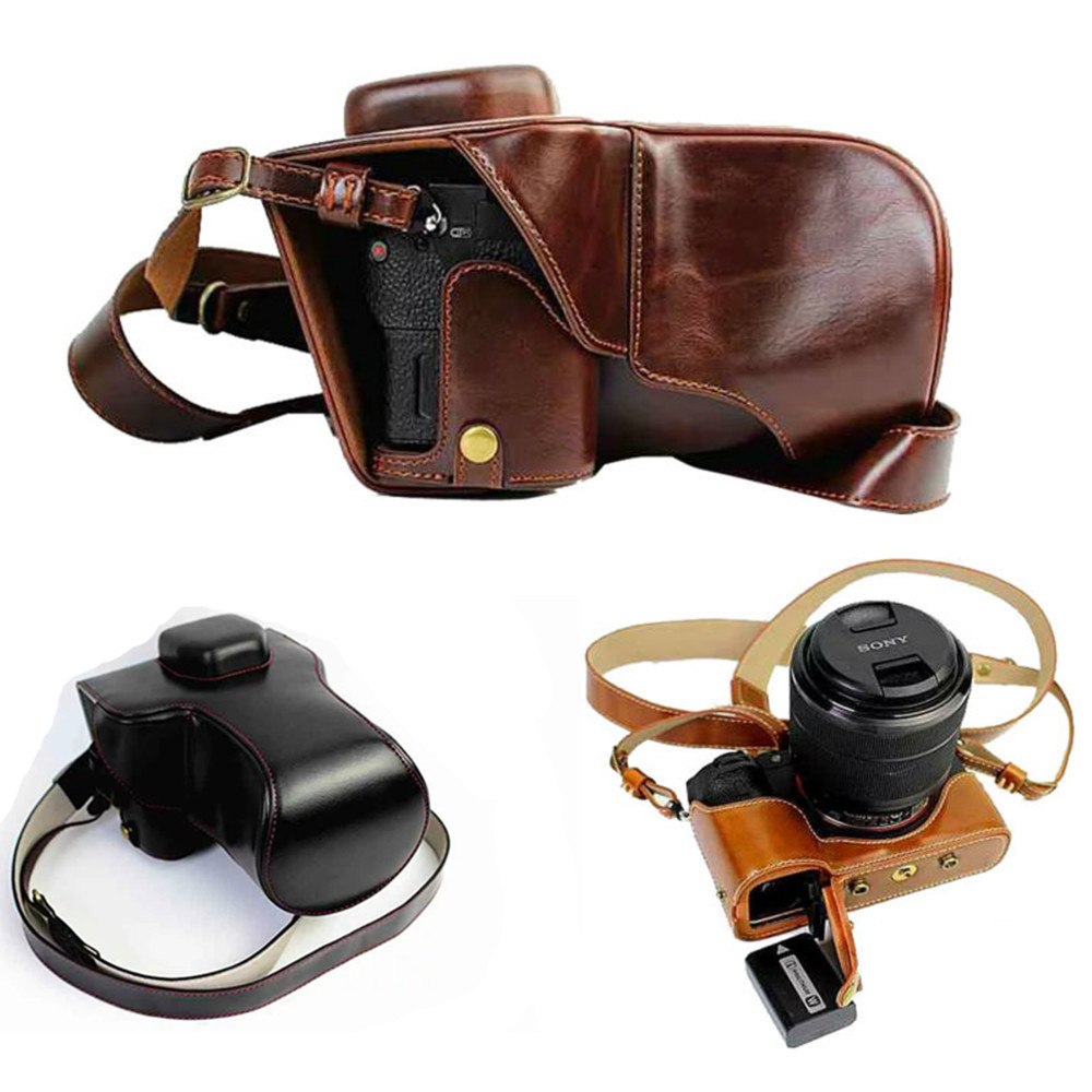 New Premium Camera Leather case bag for Sony ILCE A7II A7SII A7RII Mark II bottom open