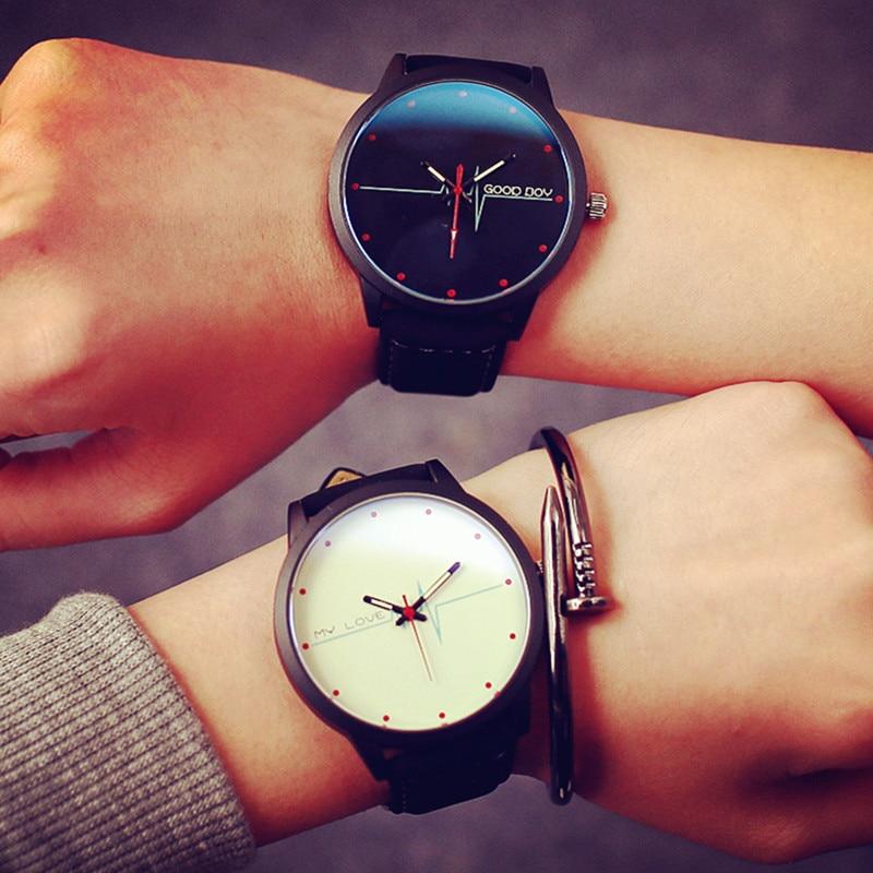 Fashion Men Women Watch Creative electrocardiogram Pattern Quartz Watch Couple Watch Casual Lovers Wristwatch Relogio Masculino