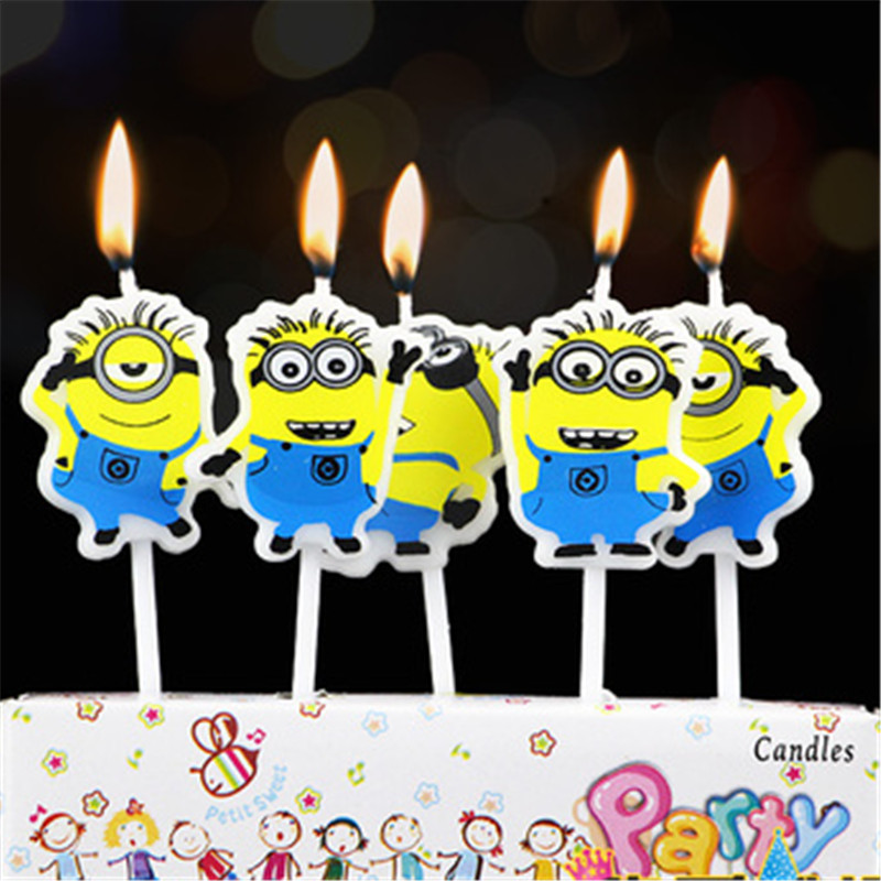 5pcs/lot Minions Party Supplies Kids Birthday Candles Evening Party Decorations Set Birthday Party Cake Candles