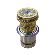 Golden Metal Car Cigarette Cigar Lighter With Small Crystal Rhinestones Luxury Aluminum Cigarette Butts Heater Auto Accessories(China)