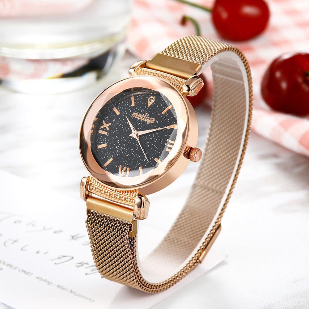 New Classic  Women's Watches  Starry Sky Ladies Quartz Wristwatch Simple Magnetic Buckle Belt Clock Luxury Relogio Feminino@50