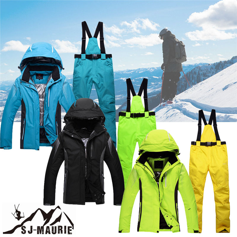 2018 Hommes combinaison de Ski Coupe-Vent planche à Neige Ski Pantalon + Veste De Patinage Ensemble kurtka zimowa damska Hiver Chaud Ski Vêtements