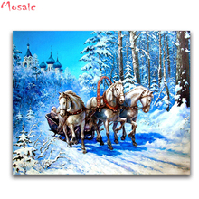 full square diamond embroidery winter 5D diy diamond painting cross stitch crystal three horse in snow landscape Diamond mosaic
