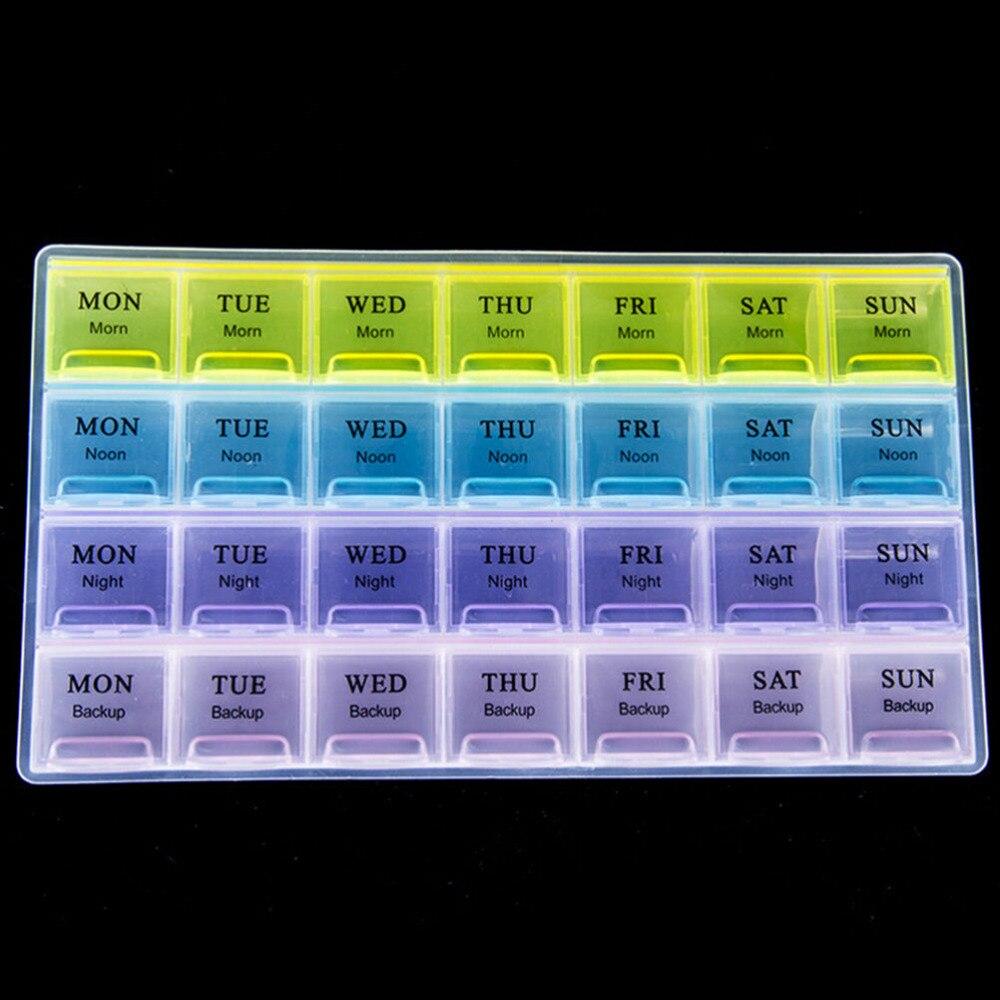 1 peça 4 fileira 28 espaços, semanal, 7 dias, tablet, caixa de pílulas, suporte, medicamentos, organizador de armazenamento, recipiente, estojo