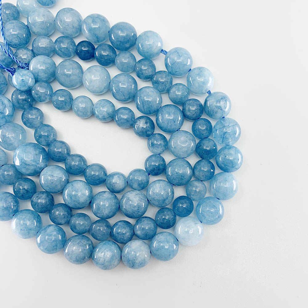 1 strang/lot Natürliche Edelstein Blau Chalcedon Aquamarin Angelite Strang Perlen Stein Runde Lose Spacer Perlen Für DIY Schmuck, der