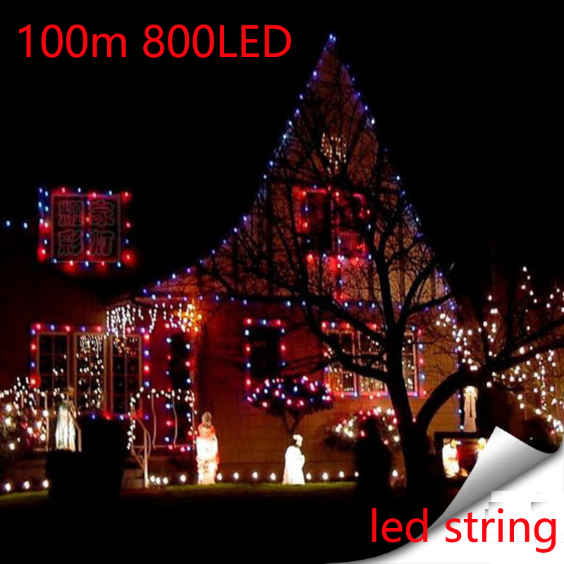 2pcs 100M Waterproof Outdoor Home Hotel LED Fairy String Lights 800PCS Lamp Christmas Party Wedding Holiday Decoration 220v great holiday light hotel wedding celebration decoration 3 6m red led lamp h276