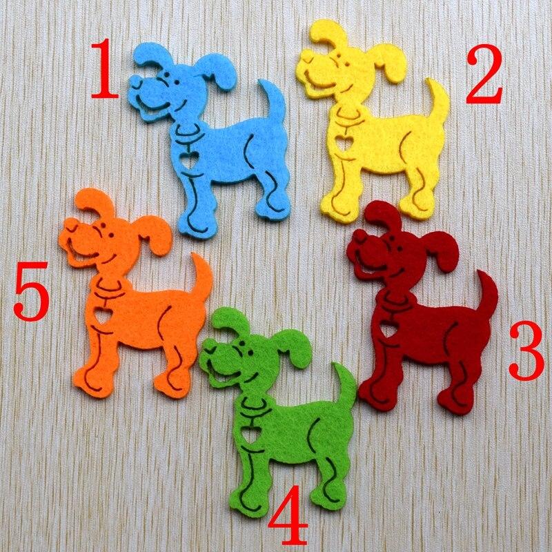 100pcs/lot 6*4.5 cm 5 color optional Felt applique non - woven cute dog wedding decoration scrapbooking Accessories, 62