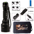 LED CREE XM-L2/T6 Flashlight 8000 lumens Torch high power Tactical Flashlight Lamp Light +Charger+1*18650 Battery+Holster