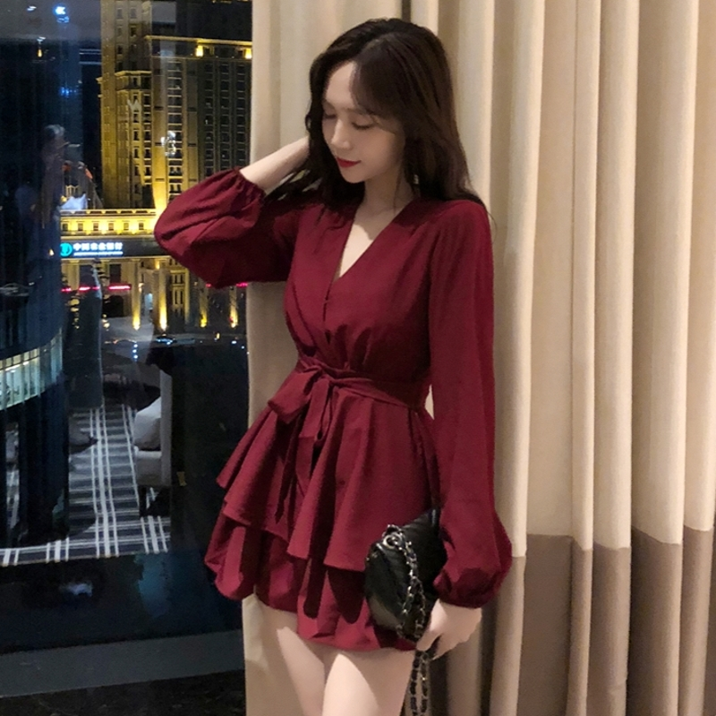 bbc8bc6709 autumn style chic new Women s Clothing temperament v-neck short dresses  Female mini A-