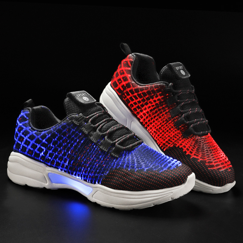 Size 27-46 New Summer Led Fiber Optic Shoes for girls boys men women USB Recharge glowing Sneakers Man light up shoesSize 27-46 New Summer Led Fiber Optic Shoes for girls boys men women USB Recharge glowing Sneakers Man light up shoes