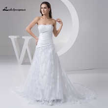 2017 Charming Lace Wedding Dress White Ivory Custom Made A line Beaded Princess Bride Gown Vestidos