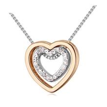 Double heart shape crystal pendant necklace