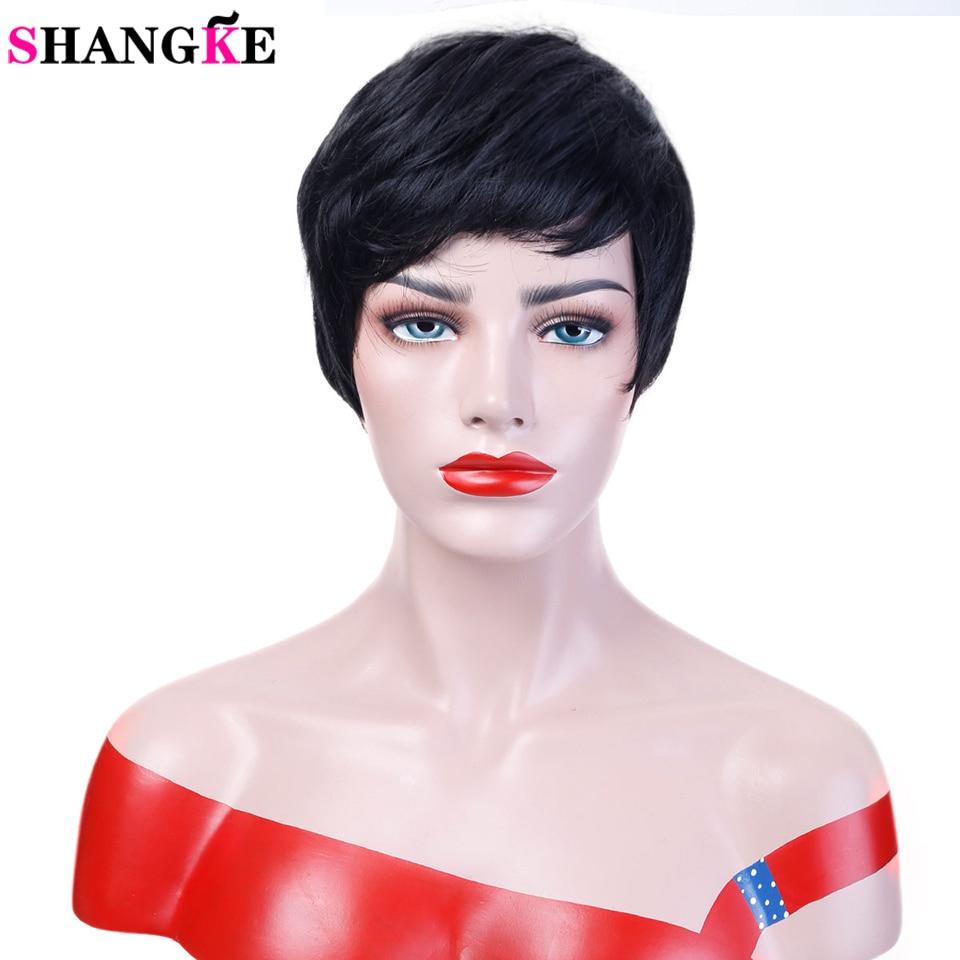 SHANGKE Pelo Corto Negro Pelucas Mujeres Pelucas sintéticas rectas naturales para las mujeres Pedazo del pelo femenino a prueba de calor