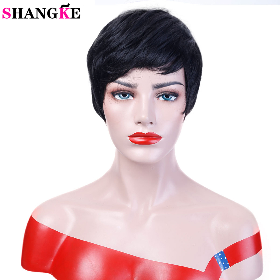 SHANGKE μαλλιά σύντομη μαύρες περούκες γυναίκες φυσικές ευθεία συνθετικές περούκες για γυναίκες ανθεκτικές στη θερμότητα γυναικεία κομμάτια τρίχας