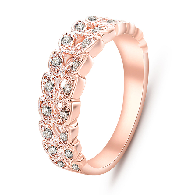 Rose Gold Color Leaves Rings  1