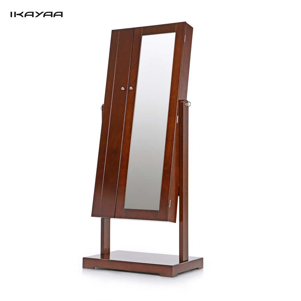 Ikayaa Us Uk Fr Stock Jewelry Cabinet Armoire Tilt Adjule Storage Box Organizer With Dressing Mirror In Bo Bins From Home Garden
