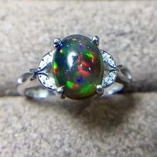 Doğal Siyah Opal Yüzük, 925 Gümüş, 3 Karat Gem, Yangın Flaş