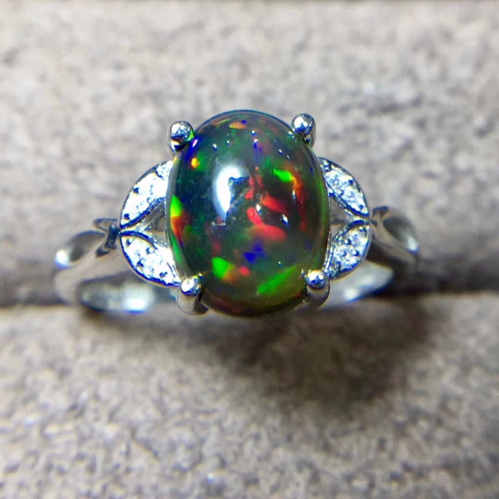 Natural Black Opal Ring, 925 Silver, 3 Carat Gem, Fire Flash