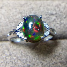 Nero naturale Opal Ring, 925 Argento, 3 Carati Gemma, Fuoco Flash