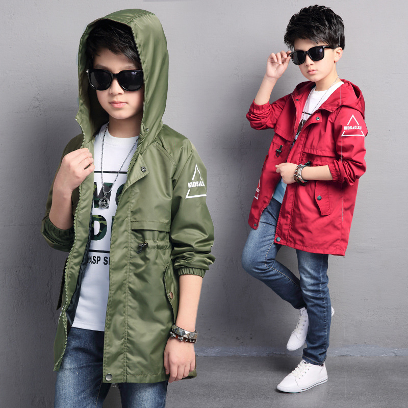Children outerwear coats boy jackets and coats letter printed boys hooded jacket kids windbreaker jackets teenager trench coats