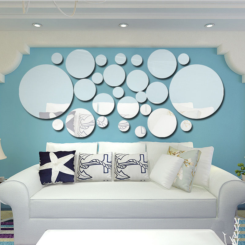 26pcs/Set Fashion Modern Circle DIY Art 3D Plastic Mirror Effect Wall Stickers Home Office Bathroom Removable Decals Decor