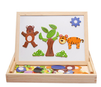 DIY Educational Kit Animal Magnetic 3D Puzzle Drawing Tools 90pcs Colorful Stickers Chalk board Children Creative Toys