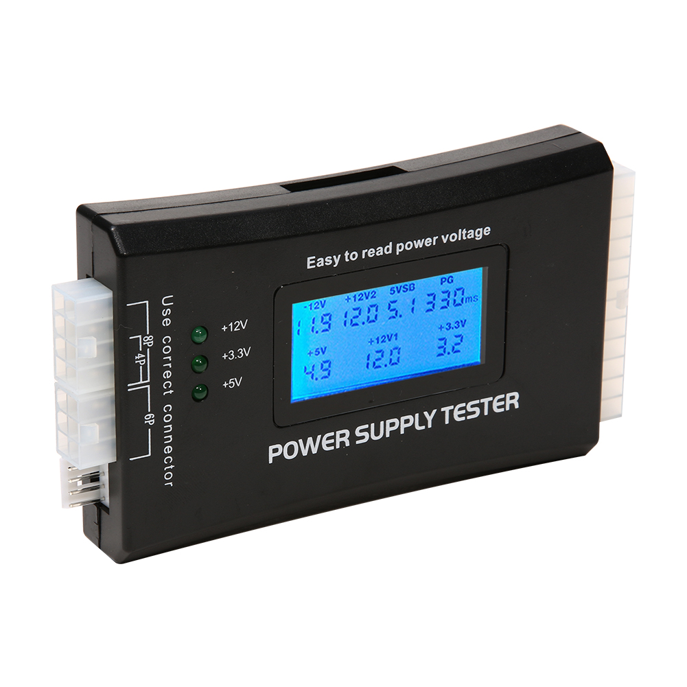 Digital LCD Power Supply Tester Computer PC 20/24 Pin Check Quick Power Supply Tester Support 4/8/24/ATX 20 Pin SATA Interface