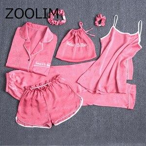 Image 1 - ZOOLIM 2018 Autumn Winter Pink 7 Pieces Elegant Women Pajamas Sets with Pants Long Sleeve Pyjama Silk Elastic Waist Pijama