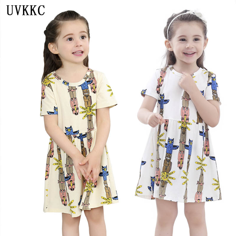 kids dresses for girls Summer Cartoon owl vestidos de festa bebe menina cool girls dresses for party children clothes Cotton