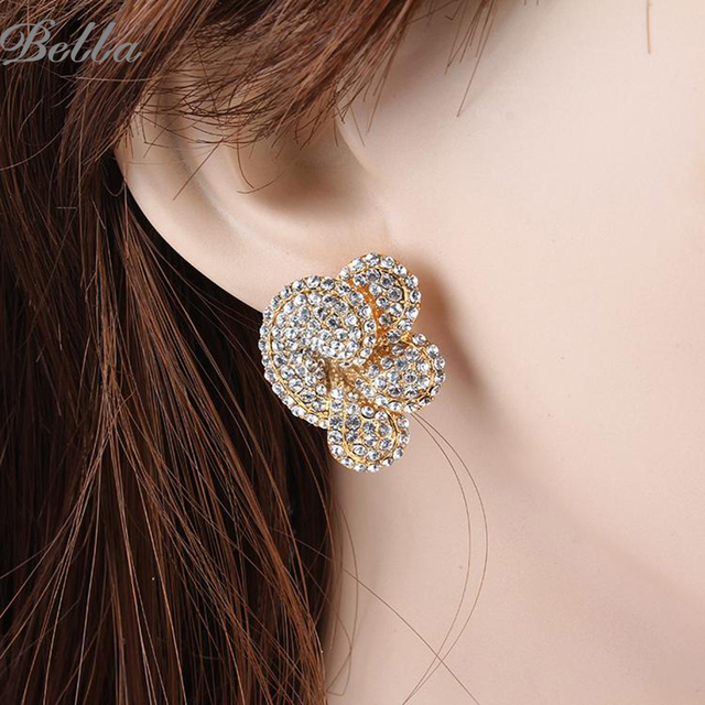 2015 crystal Double material Jewelry gold plated/platinum plated Beautiful clouds flower Stud Earrings(E0104)