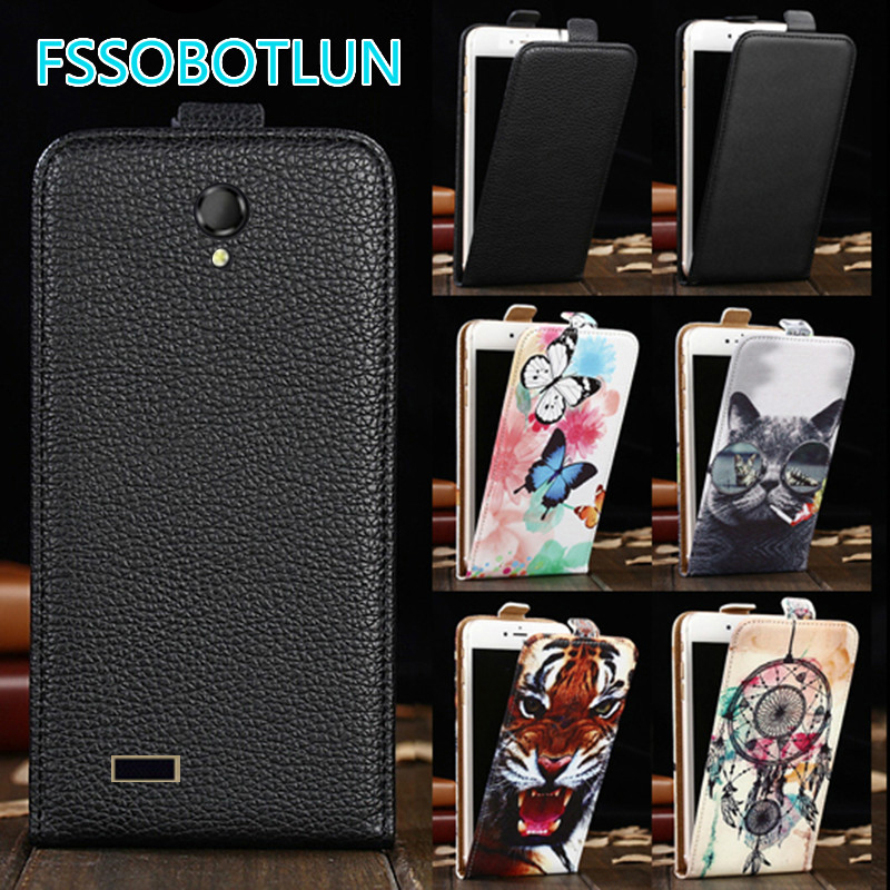 Factory direct! For Fly IQ4416 ERA Life 5 Cartoon Painting vertical phone cover bag flip up and down PU Leather Case