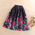 Ladies Elegant Office High Waist Tutu Skater Skirt 2016 Women's Midi Vintage Floral Print 50s Large Swing Skirts Saias Faldas