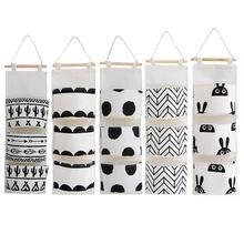 Черно-белая хлопковая льняная подвесная сумка для хранения, 3 кармана, настенный шкаф, подвесная сумка, настенная сумка, органайзер для косметических игрушек