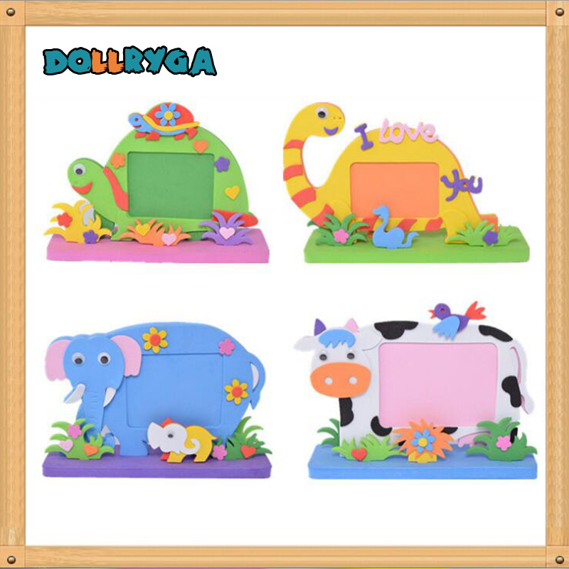 4sets EVA Cartoon Photo Frame DIY Applique Children Handmade Non-woven Cloth Animal Craft Art Gift