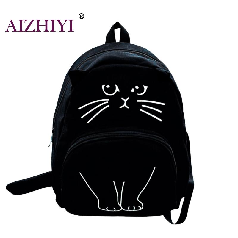 Women Canvas Backpack Cute 3D Cat Printing Backpack Large Capacity Backpacks For Teenager Girls Female Schoolbag Travel Rucksack yasicaidi 4pcs women canvas backpack cute cartoonprinting backpacks school backpack for teenager girl casual travel bag rucksack