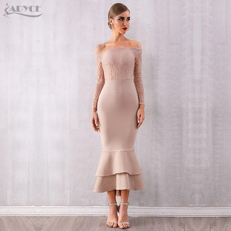 ADYCE Summer Women Off Shoulder Lace Bandage Dress Celebrity Party Dress Vestidos Sexy Long Sleeve Slash