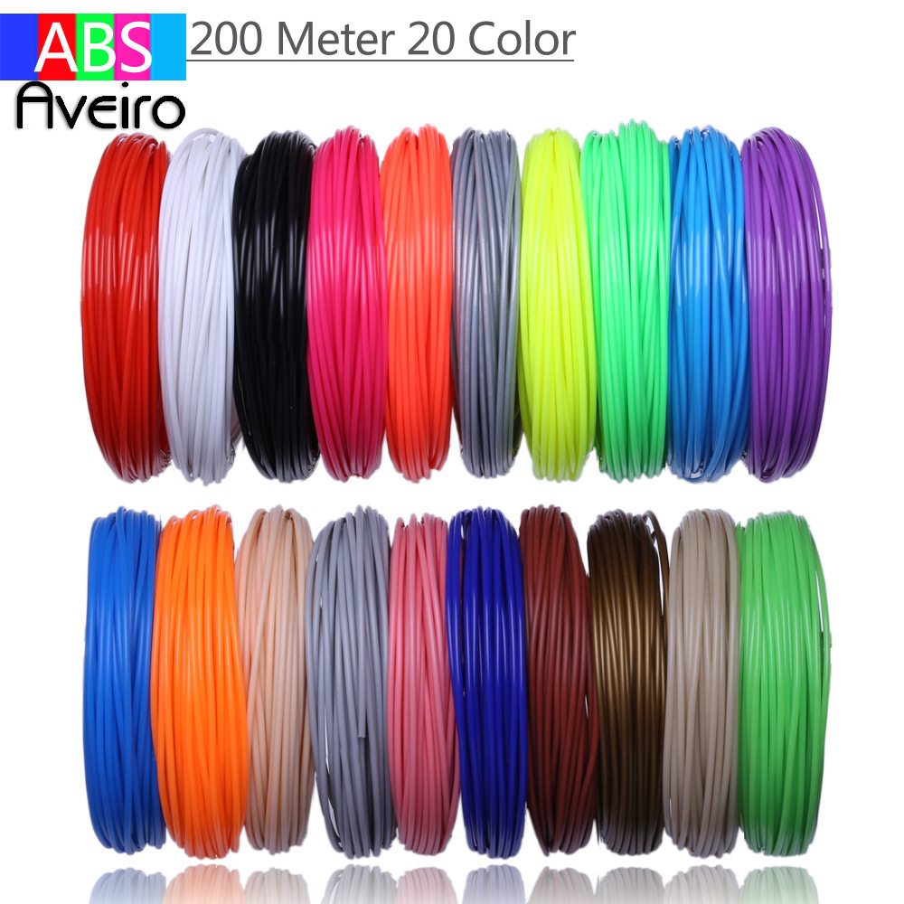 20 color 200M Or 10 colors 100 meter 3D printer filament ABS 1.75 mm plastic material for 3D pen toys drawing and printing gifts