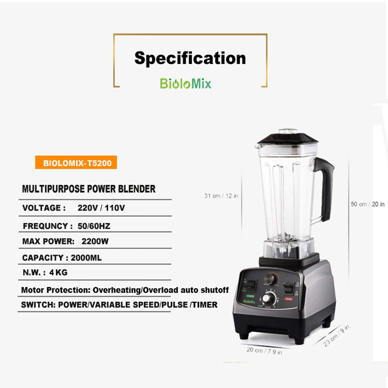 HTB1C2gWXjzuK1RjSspeq6ziHVXat BPA Free Commercial Grade Timer Blender Mixer Heavy Duty Automatic Fruit Juicer Food Processor Ice Crusher Smoothies 2200W