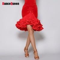 2016 Women Lady Latin Dance Skirt No Top Black Red Sleeve Velvet Dancewear Club Dresses Vestido
