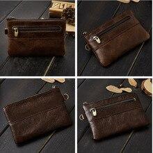 Винтажный стильный кошелек для монет из натуральной кожи, маленький кошелек для монет из натуральной кожи, S653-40, мужской кредитный держатель для карт, сумка