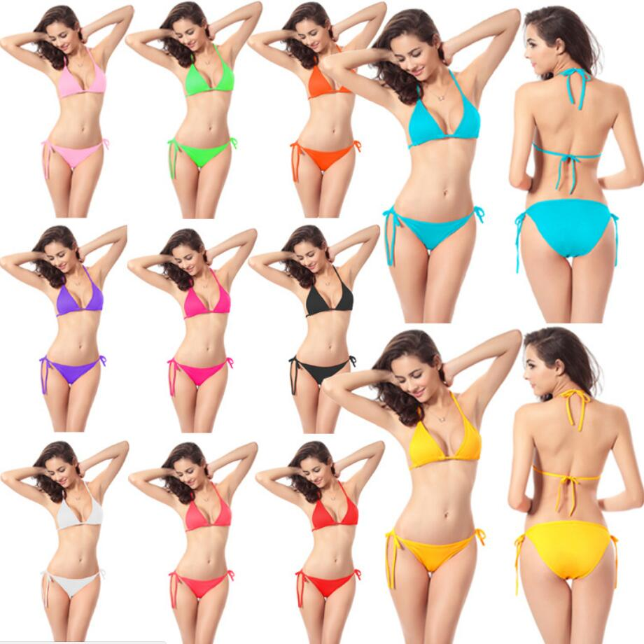 9 Colors Hot Sale Sexy Lace-up Swimwear Fashion Swimming Suit For Women Swimsuit Bikini Set Popular Two-Piece Bathing Suits