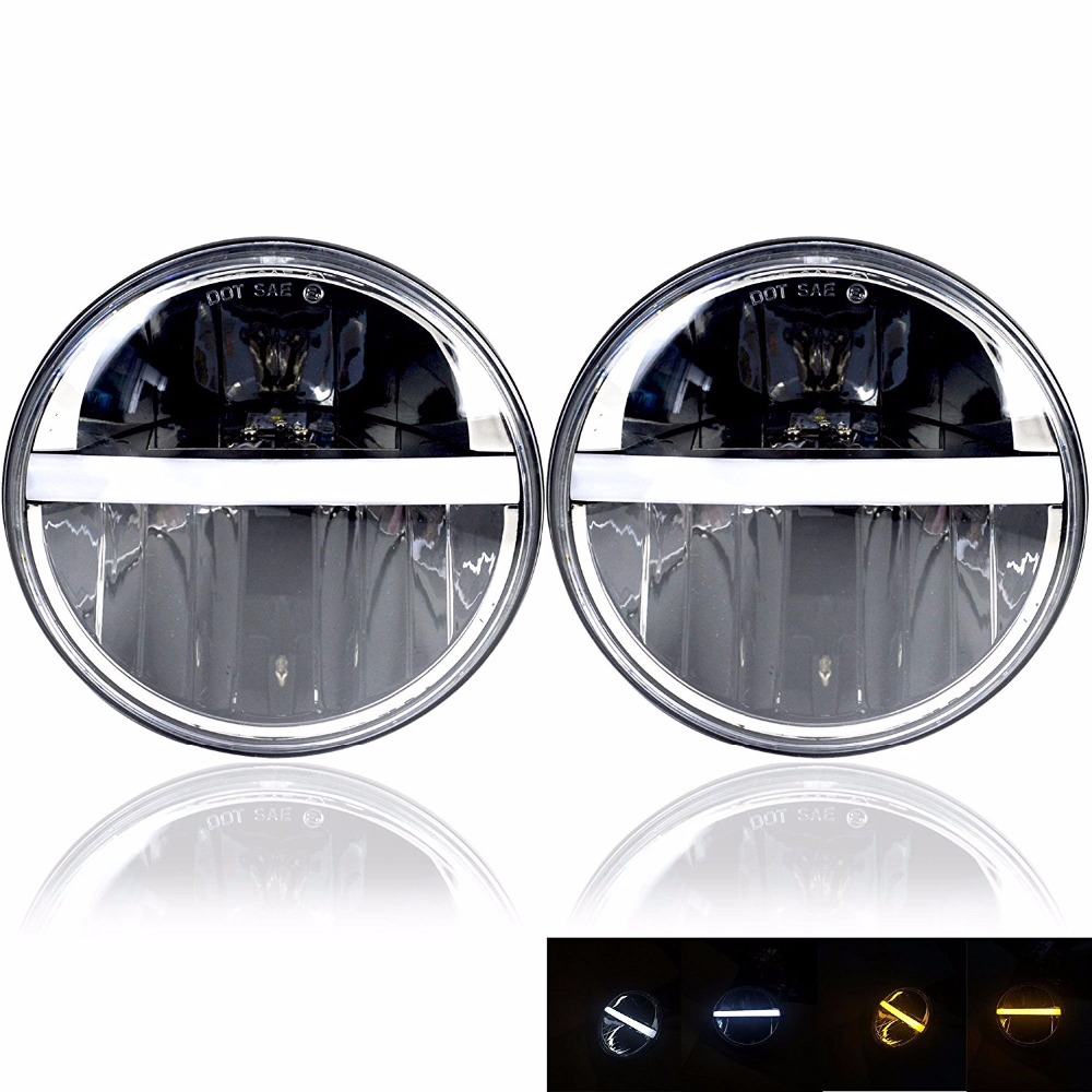 Round 7 Inch Headlights LED Halo Headlight Bulb Lamp H4 H13 Angel Eyes Light DRL Head Lamp For Jeep Wrangler For Hummer 7 inch round 45w led halo blue angel eyes headlights h4 h13 led headlight for jeeps wrangler jk off road 4x4