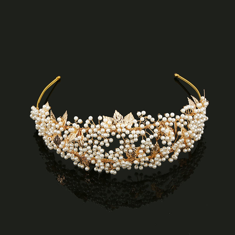 SLBRIDAL Diamantes de imitación de cristal dorado Perlas Flor Hoja Tiara de la boda Diadema Corona nupcial Accesorios para el cabello Damas de honor Mujeres