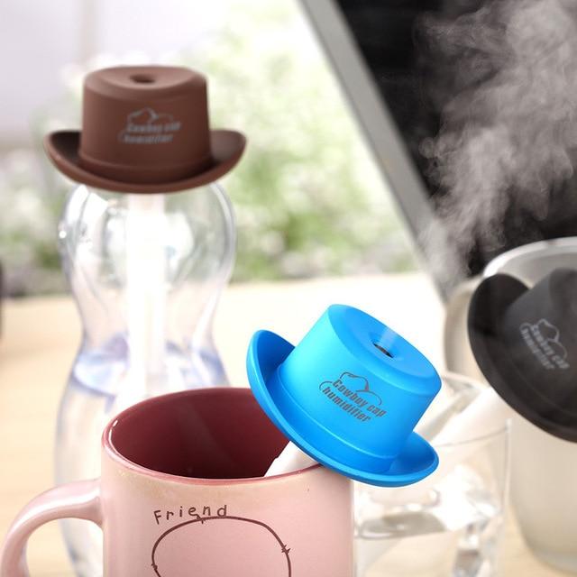 Личность Ковбой Шляпа USB Мини Увлажнитель Mist Чайник Крышки Бутылки Спрей Ультразвуковой Увлажнитель Воздуха Аромат Aiffuser ABS 2 Вт 5 В
