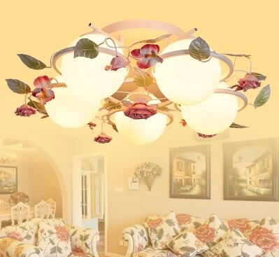 Country style half chandelier ceiling lamp bedroom living room lamps, wrought iron flowers and non-incandescent korean princess wrought lamp iron bedroom led lamp american pastoral style living room children chandelier