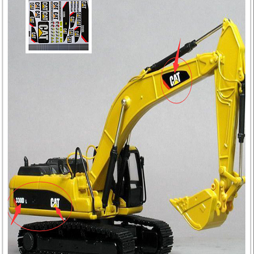 RC Excavator Model Adhesive Sticker Decals Kit For Caterpiller 1:14 And 1:16 Rc Excavator Bulldozer Forklift Engineering Vehicle